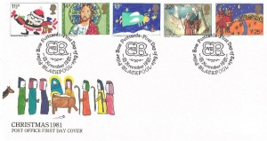 1981 Christmas, Post Office FDC, First Day of Sale Pilar Box Postcards Blackpool H/S