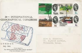 1964 Geographical Congress, Newlands Road Philatelic Society FDC, London WC FDI