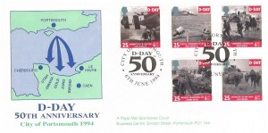 1994 D Day Royal Mail Portsmouth Official FDC, City of Portsmouth D-Day 50th Anniversary H/S