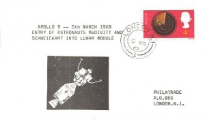 1969 Apollo 9 Entry of Astronauts McDivitt and Schweickart into Lunar Module Philatrade Commemorative Cover, London N1 cds