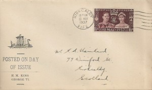 1937 King George VI Coronation, Illustrated FDC, Kirkcaldy Fife Cancel