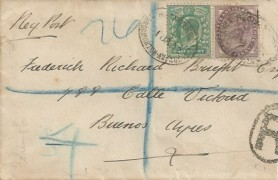 1902 ½d Green King Edward VII, Plain Registered FDC to Buenos Aires, Registered Throgmorton Avenue EC Oval cds