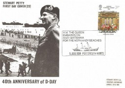 1984 London Economic Summit, Stewart Petty Cover No.22 40th Anniversary of D Day, HM Queen Embarks on HMY Britannia for Normandy Beaches Portsmouth Hants. H/S