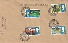 1966 British Landscapes, On Her Majesty's Service Stationery FDC, Five Oaks Jersey Channel Islands cds