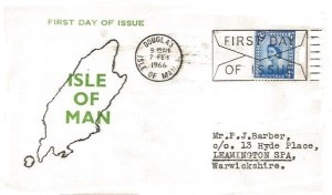 1966 4d Isle of Man Regional, Isle of Man FDC, First Day of Issue Douglas Isle of Man Slogan