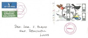 1966 British Birds, Post Office Special Delivery FDC, Lincoln FDI, RAF Post Office Hemswell Lincolnshire Cachet