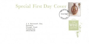 1987 Studio Pottery, The Wine Centre FDC, 18p Bernard Leach Stamp only, Worcester FDI