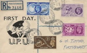 1949 Universal Postal Union, Registered UPU FDC, Portstewart Co.Derry cds