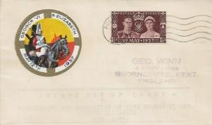 1937 King George VI Coronation, Illustrated Geo Unwin FDC, Folkestone Kent Cancel