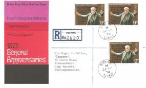 1972 General Anniversaries, Registered Post Office FDC, 9p Ralph Vaughan Williams stamps only, Dorking Surrey cds