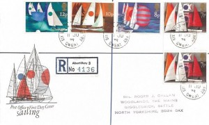 1975 Sailing, Registered Post Office FDC, Six Bells Abertillery Gwent cds