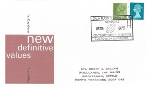 1975 8½p Machin, Post Office New Definitive Values FDC, Gala Rugby Football Club Centenary Match Galashiels Selkirkshire H/S