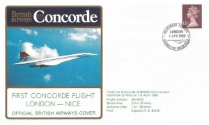 1980 British Airways London Nice Concorde First Flight Cover, Heathrow Airport Hounslow Middlesex H/S