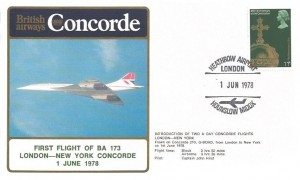 1978 British Airways First Flight BA 173 London New York Cover, Heathrow Airport London Hounslow Middx. H/S