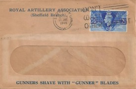 1946 Victory, Royal Artillery Association Sheffield Branch FDC, 2½d Victory stamp only, Don't Waste Bread Others Need It Sheffield Slogan