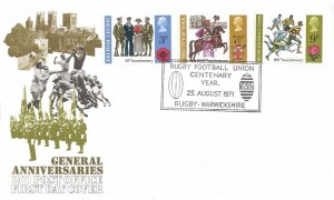 1971 General Anniversaries, Post Office FDC with Rare Rugby Football Union H/S