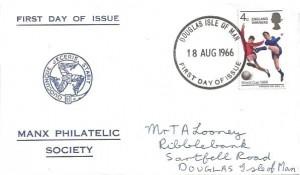 1966 England World Cup Winners, Manx Philatelic Society FDC, Douglas Isle of Man FDI