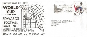 1966 World Cup, Edwards Football Goal Nets FDC, 4d stamp only, Bridport and West Bay a Holiday with a Difference Bridport Dorset Slogan