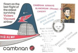 1972 Cambrian Airways Cover, flown on the last Flight of the Oldest Surviving Vickers Viscount airliner Cardiff to Liverpool, Cardiff cds