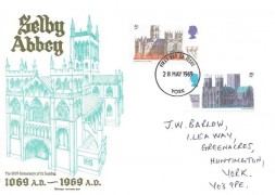 1969 British Cathedrals, Selby Abbey 1069 AD - 1969 AD Small version of FDC, 5d Durham & 5d York Cathedral stamps only. York FDI
