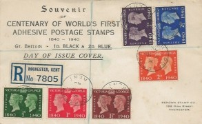 1940 Postage Stamp Centenary, Registered Renown Stamp Co. Rochester FDC, Rochester Kent cds