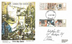 1982 Information Technology, Jim Smith Character Series No.5 FDC, Salisbury FDI, addressed & signed by Arnold Wesker Playwright