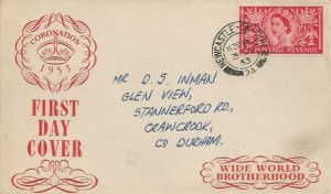 1953 Coronation, Wide World Brotherhood FDC, 2½d Stamp only, Newcastle on Tyne 24 cds