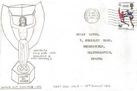 1966 England World Cup Winner, hand drawn FDC, Wolverhampton Staffs. Cancel