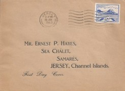 1943 2½d Blue Jersey View, Ernest P Hayes Display FDC, Jersey Cancel