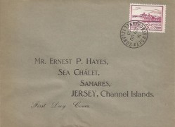 1943 3d Violet Jersey View, Ernest P Hayes Display FDC, Jersey Channel Islands cds