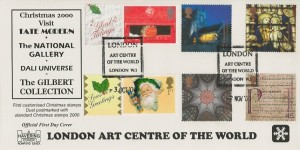 2000 Christmas Havering FDC, London Art Centre of the World London W1 H/S, Double Dated with 3rd October 2000 Christmas Generic Smilers