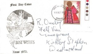 1972 Christmas, Illustrated FDC, 2½p Gutter Corner stamp only, Kendal FDI