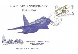 1968 British Anniversaries, Montrose Scotland's First Military Aerodrome White FDC,1s RAF stamp only Trinity Brechin Angus cds