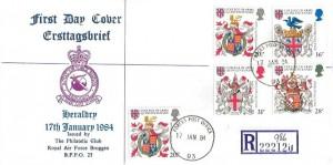 1984 Heraldry, Registered RAF Bruggen FDC, Forces Post Office 93 cds