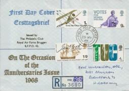 1968 British Anniversaries, Registered RAF Bruggen FDC, Field Post Office 986 cds