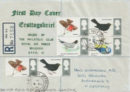 1966 British Birds, Registered RAF Bruggen FDC, Field Post Office 986 cds