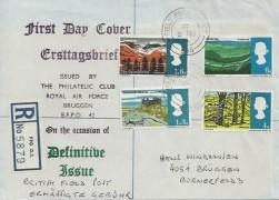 1966 British Landscapes, Registered RAF Bruggen FDC, Field Post Office 986 cds