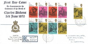 1970 Literary Anniversaries, Registered RAF Bruggen FDC, Field Post Office 986 cds
