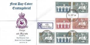 1984 Europa, Registered RA Bruggen FDC, Forces Post Office 93 cds