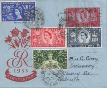 1953 Coronation, 6d Air Letter, Camborne Redruth Long Live the Queen Slogan + Set of 4 Coronation stamps, Camborne Redruth cds