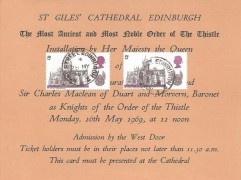 1969 British Cathedrals, St. Giles' Cathedral Edinburgh Order of the Thistle Invitation Ticket FDC,2x 5d Giles' Cathedral Stamps, Hope Street Edinburgh cds