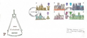 1969 British Cathedrals, Philcovers FDC, Enfield Middx.FDI