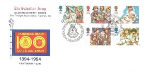 1994 Christmas, Official Salvation Army FDC, Cambridge Heath Centenary Mare Street Hackney London E8 H/S