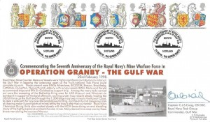1998 The Queen's Beasts, Official Royal Navy Cover Group FDC, 75th Anniversary of Royal Navy's Mine Warfare Force in The Gulf War Rosyth Scotland H/S, Signed