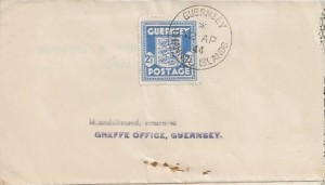 1944 Guernsey Arms 2½d Blue, Thos. H Savident Advice Note FDC, Guernsey Channel Islands cds