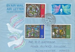 1971 Christmas, Post Office Air 5d Christmas Letter + 1971 Christmas Stamps, Southampton cds