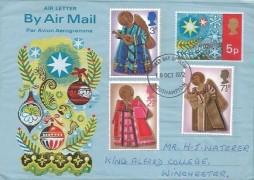 1972 Christmas, Post Office Air 5p Christmas Letter + 1972 Christmas Stamps, Southampton FDI