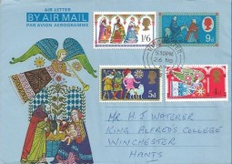 1969 Christmas, Post Office Air 9d Christmas Letter + 1969 Christmas Stamps, Winchester cds