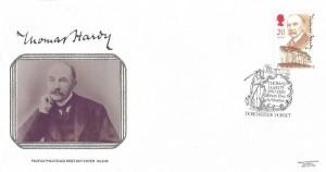 1990 Thomas Hardy Pilgrim FDC, Thomas Hardy 1840 - 1928 Essex Poet & Novelist Dorchester Dorset H/S