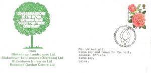 1976 Roses, Blakedown Landscape Ltd FDC, 8½p Stamp only, First Day of Issue Philatelic Bureau Edinburgh H/S